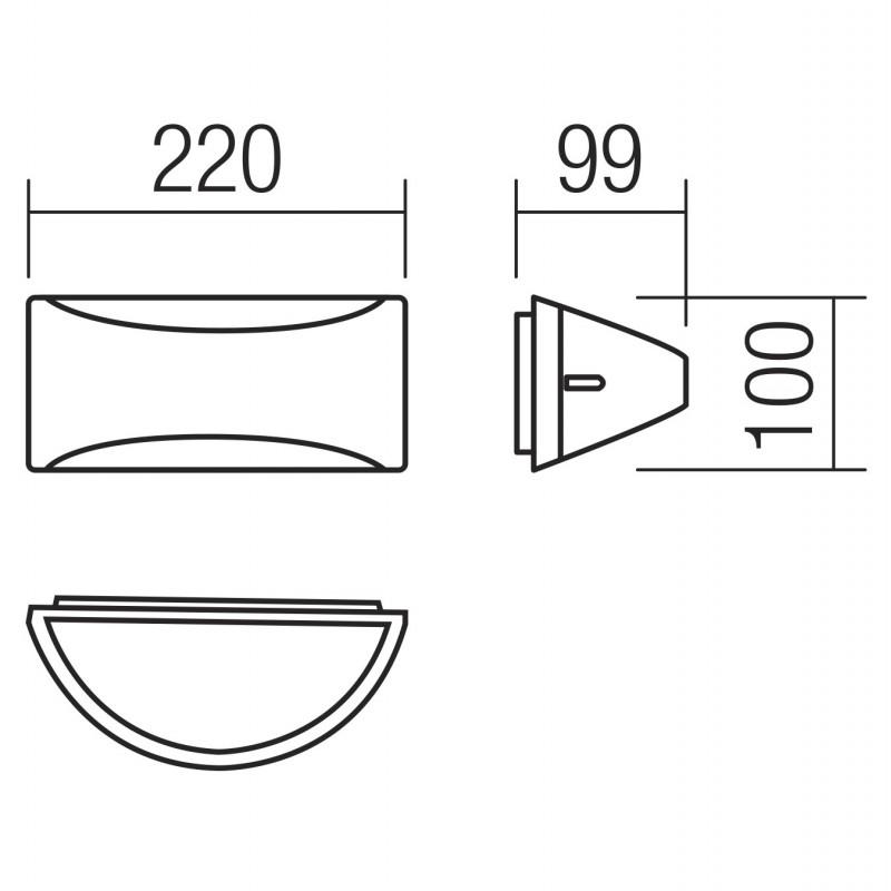 Aplica LED Scudo 90191, 10W, lumina calda, IP54, gri inchis + alb, Smarter