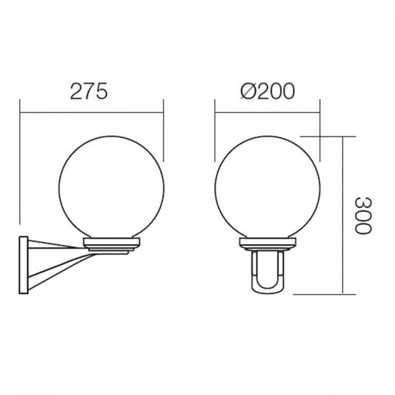 Aplica pentru exterior Sfera 9788, 1 x E27, fumurie, D 200 mm, Smarter