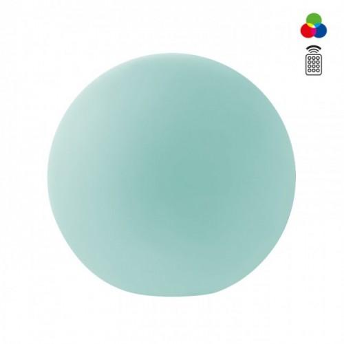 Corp decorativ exterior Baloo forma sferica din polietilena alba rezistenta la raze UV echipat cu LED-uri colorate SMD și sistem RGB 9969 Redo