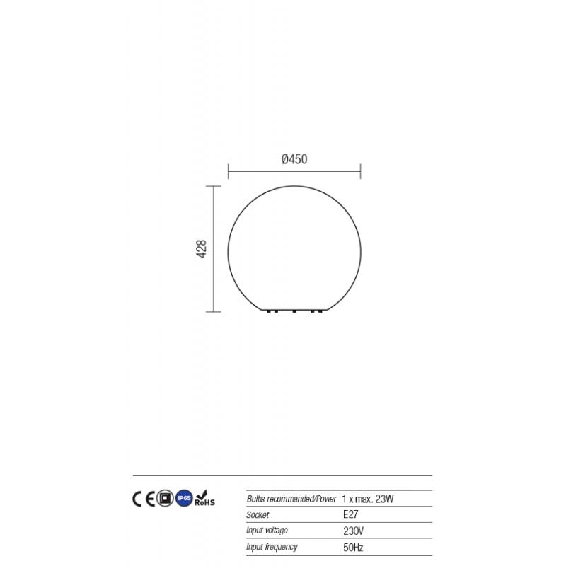Corp decorativ exterior Baloo formă sferica din polietilena imitație granit rezistenta la raze UV 9970 Redo