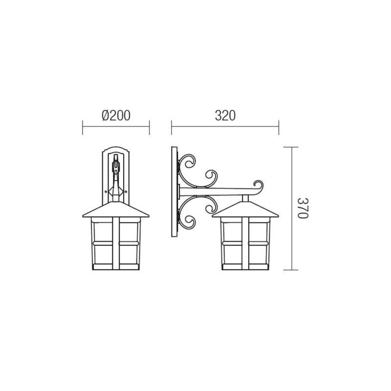 Aplica pentru iluminat exterior orientata in jos, Bari 9839, 1 x E27, Smarter
