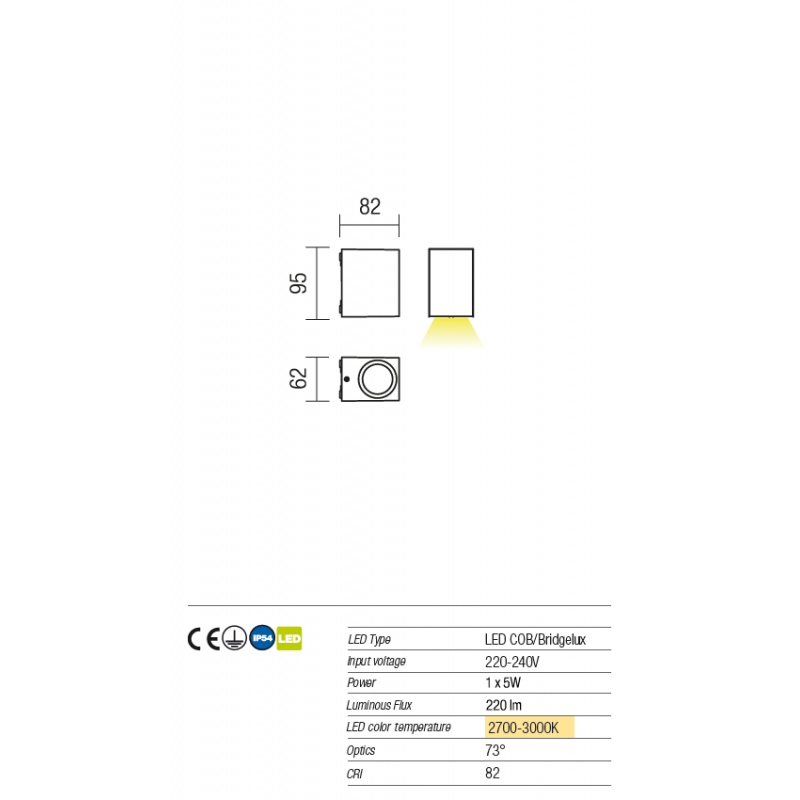 Aplica pentru exterior Beam cu Led-uri 9907 Redo