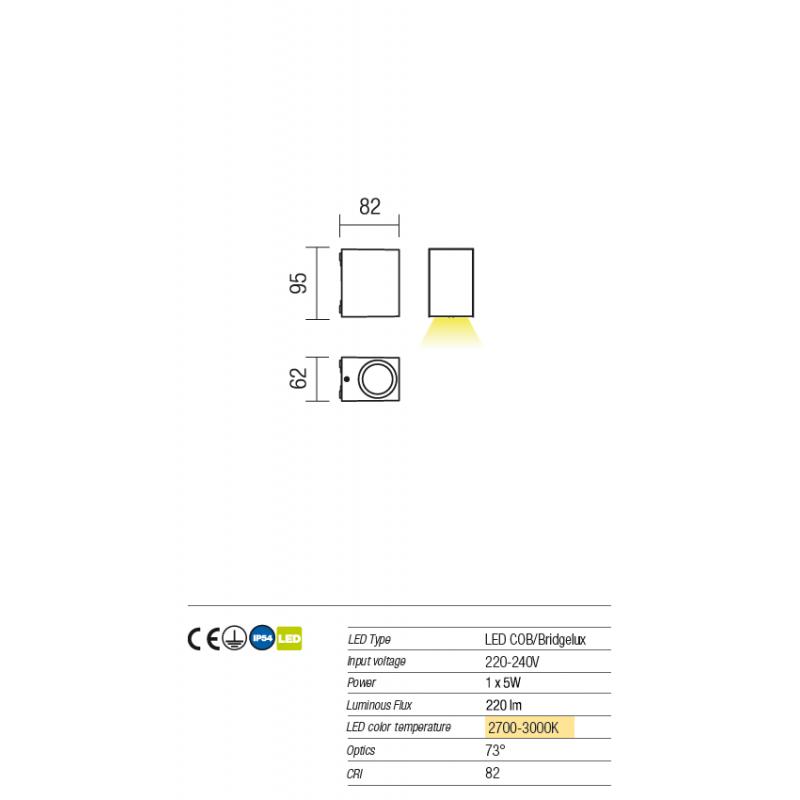 Aplica pentru exterior Beam cu Led-uri 9908 Redo