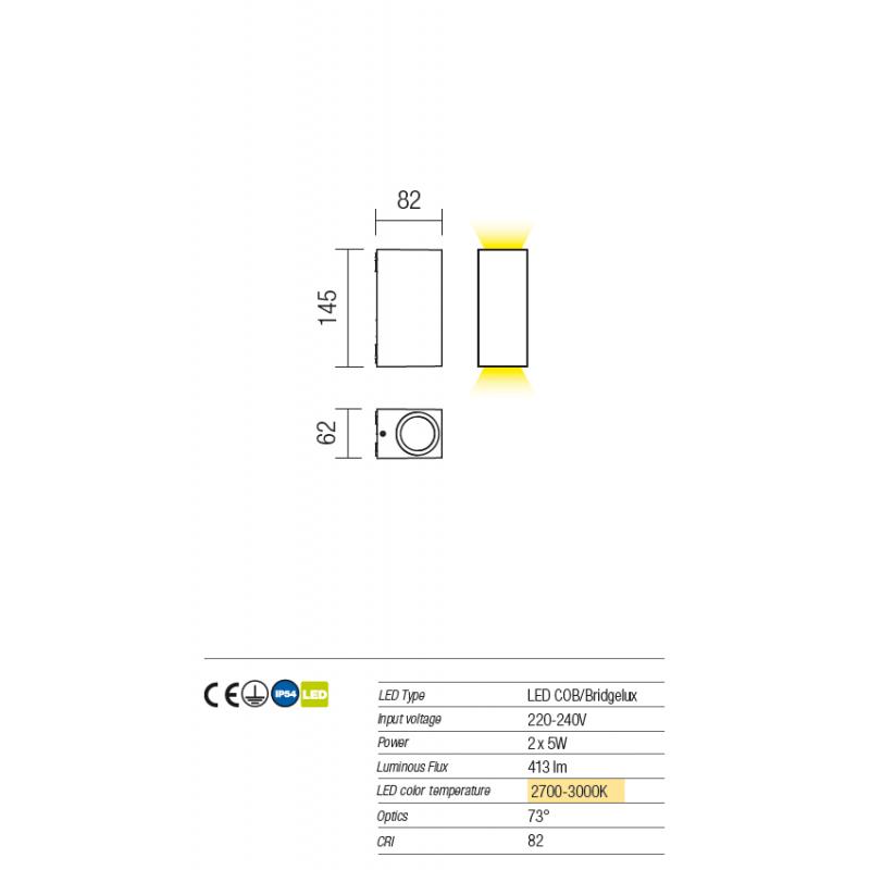 Aplica pentru exterior Beam cu Led-uri 9910 Redo