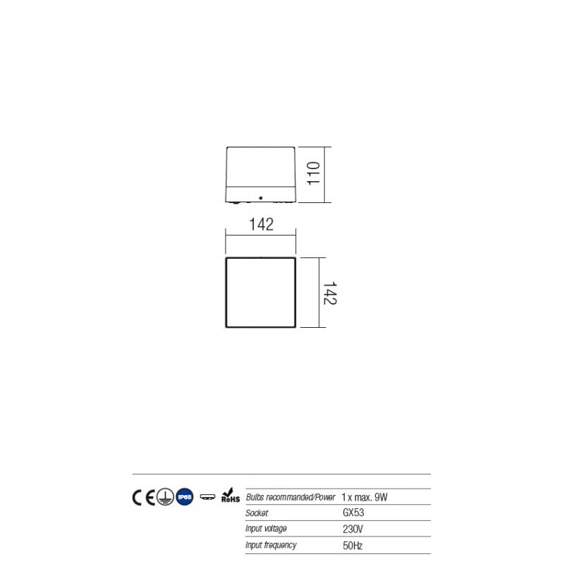 Aplică/plafonieră pentru exterior Cube, corp din aluminiu  culoare gri închis 9441 Redo Outdoor