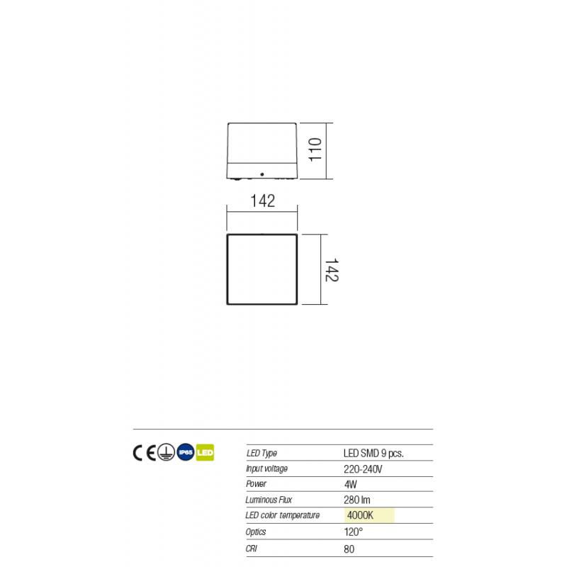 Aplică/plafonieră Cube pentru exterior, echipată cu LED-uri SMD, corp din aluminiu 9442 Redo Outdoor