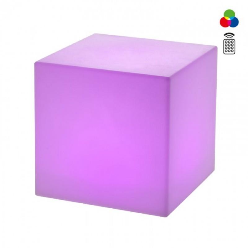 Corp de iluminat decorativ Dados  pentru exterior, dispersor de formă cubică din polietilenă albă echipat cu LED-uri colorate SMD 9991 Redo Outdoor