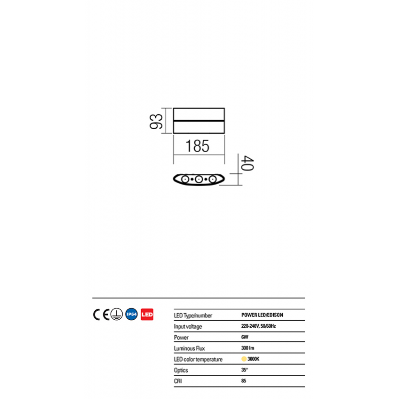 Aplică Fabo pentru exterior cu LED-uri de putere 9086 Redo Outdoor