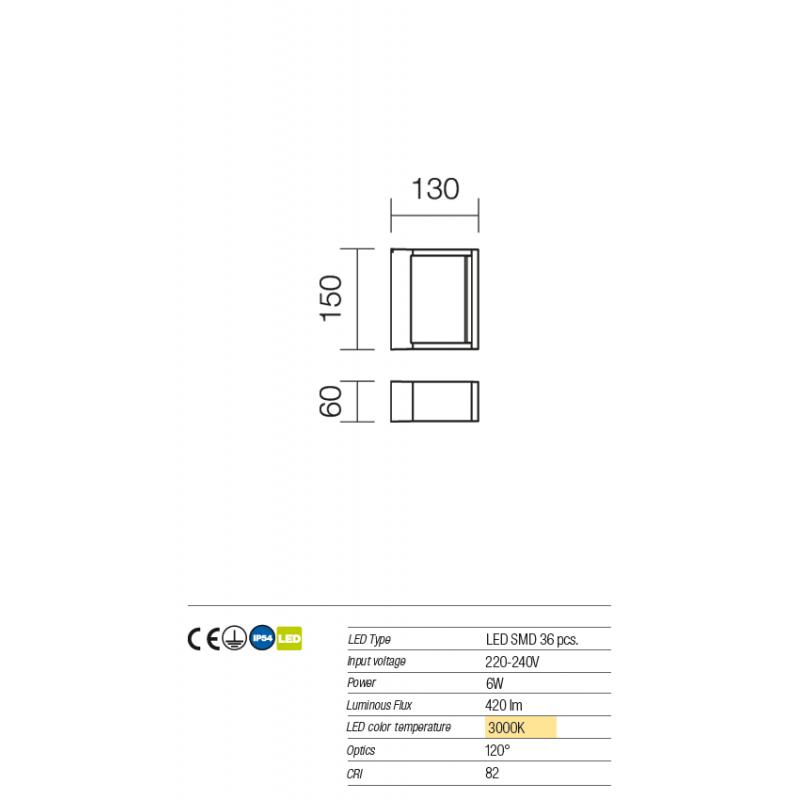 Aplica Led SMD pentru exterior Gate din aluminiu culoare ruginie 9466 Redo