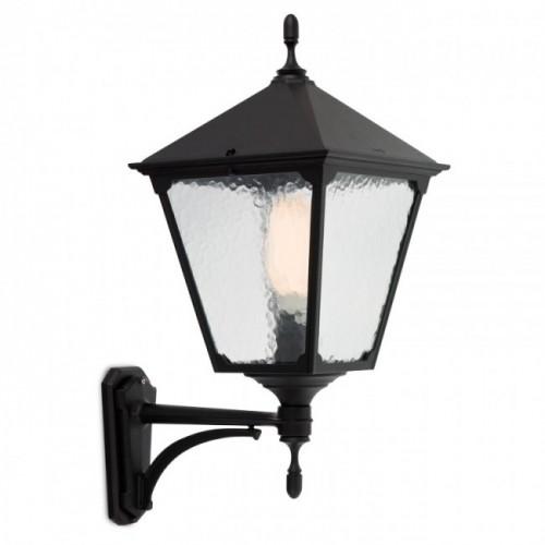 Aplică Heidelberg pentru exterior din aluminiu turnat, finisaj negru mat, dispersor sticlă. 9225 Redo Outdoor