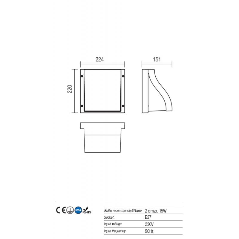 Aplică Book pentru exterior, corp din aluminiu de culoare ruginie 9891 Redo Outdoor