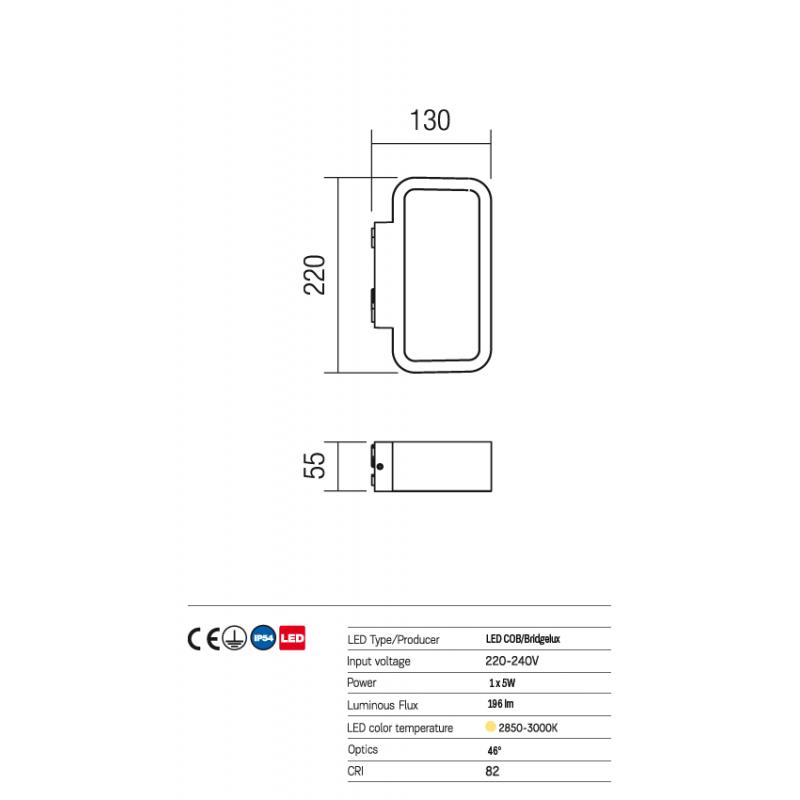 Aplică Contour pentru exterior, cu distribuție luminoasă indirectă, echipată cu LED-uri 9132 Redo Outdoor