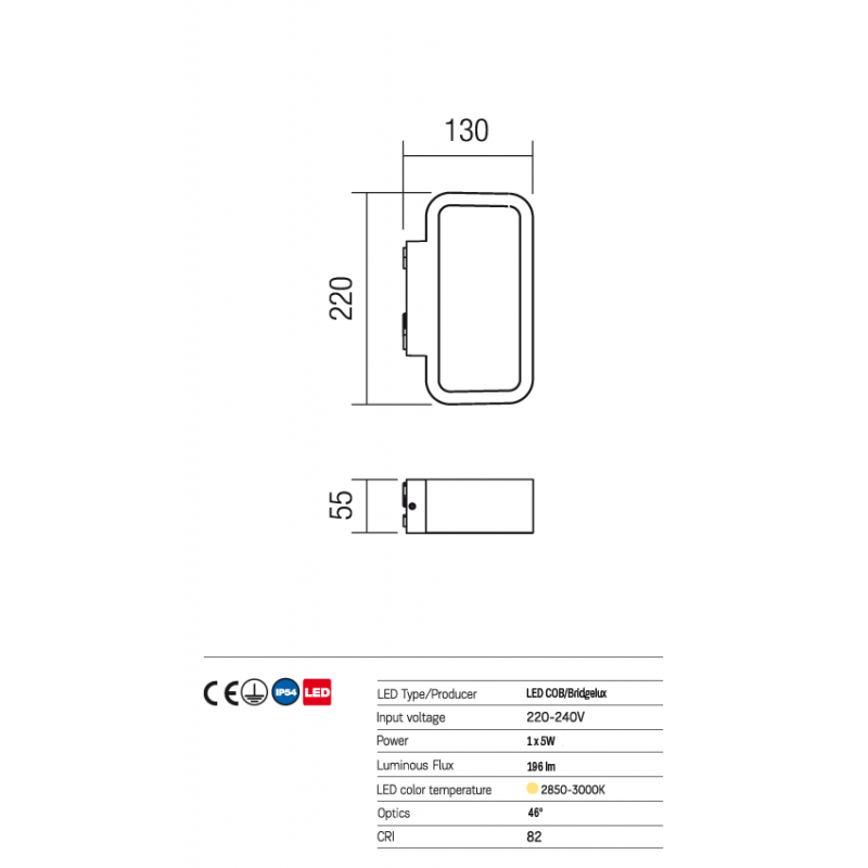 Aplică Contour pentru exterior, cu distribuție luminoasă indirectă, echipată cu LED-uri 9905 Redo Outdoor
