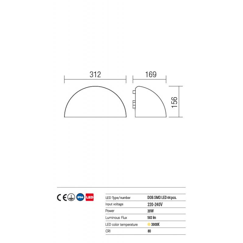 """Aplică Hood pentru exterior, echipată cu LED-uri SMD și driver """"on board"""". 9192 Redo Outdoor"""