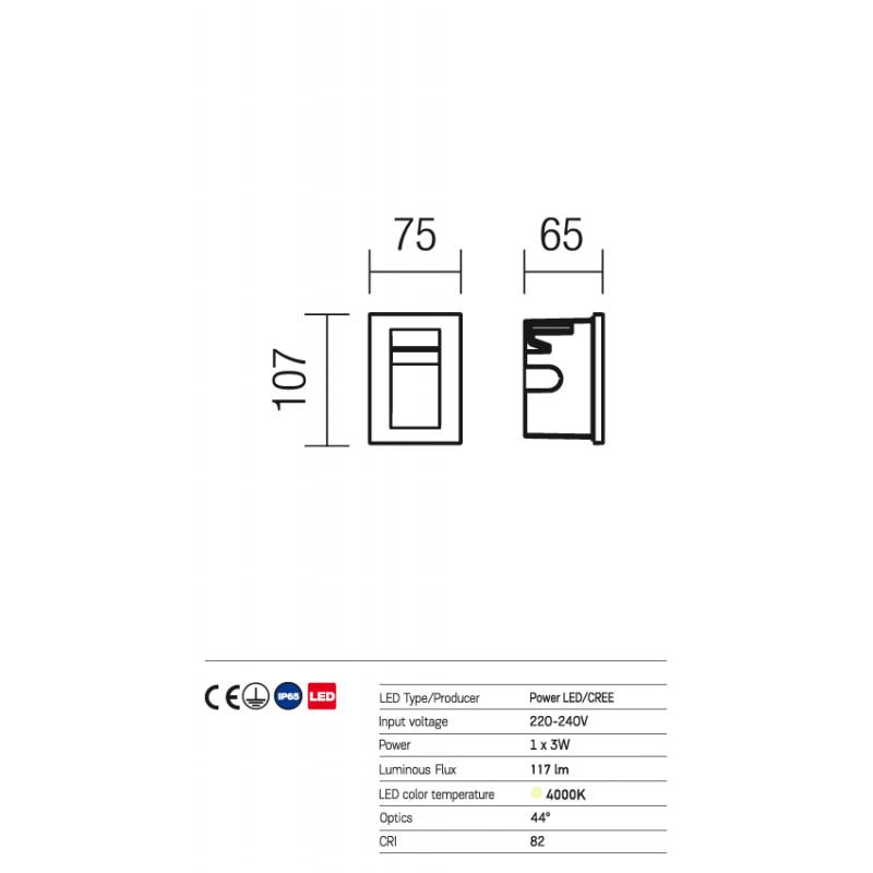 Aplică Inner de încastrat în perete, pentru exterior sau interior, cu lumină asimetrică 9548 Redo Outdoor