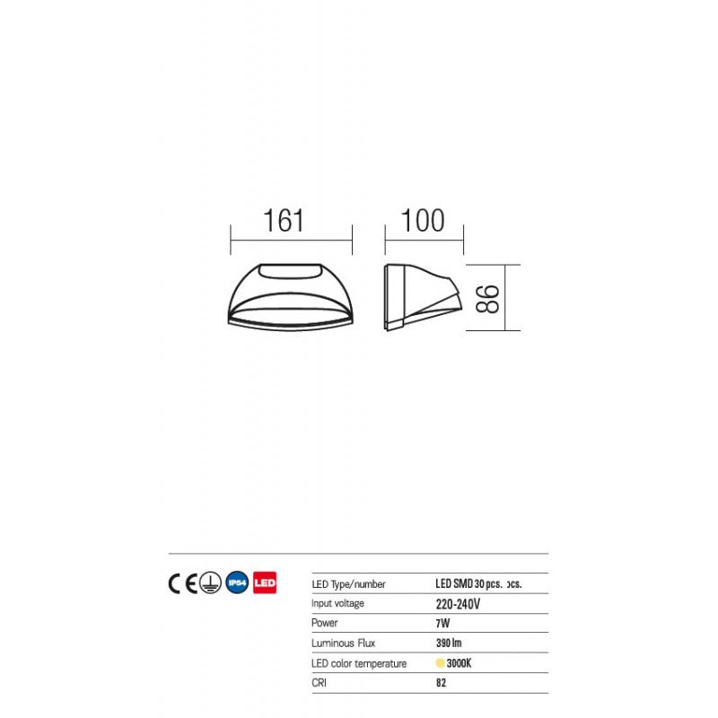 Aplică Knight  pentru exterior echipată cu LED-uri SMD 9043 Redo Outdoor