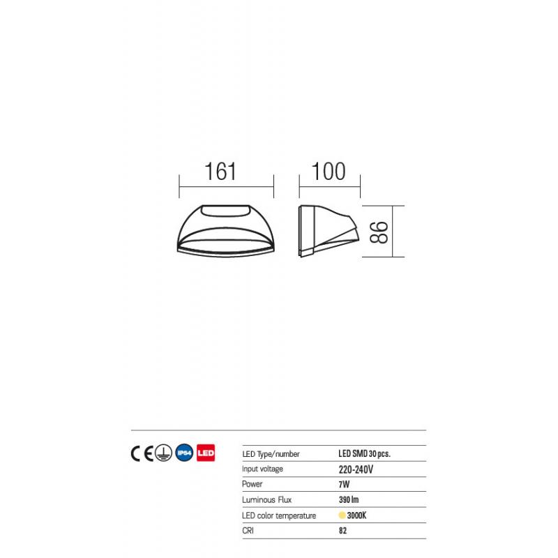 Aplică Knight  pentru exterior echipată cu LED-uri SMD 9044 Redo Outdoor