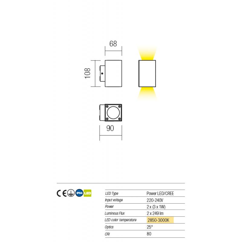 Aplică Minibox pentru exterior  echipată cu LED-uri 9911 Redo Outdoor