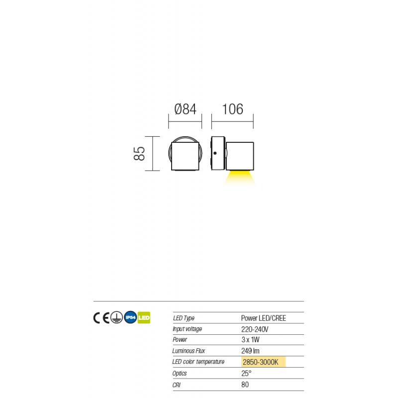 Aplică Miniround pentru exterior echipată cu LED-uri  9923 Redo Outdoor