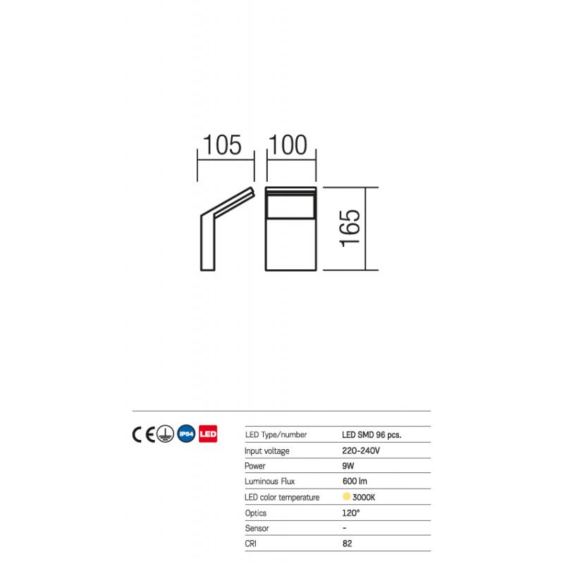 Aplică Pilar pentru exterior echipată cu LED-uri SMD 9474 Redo Outdoor