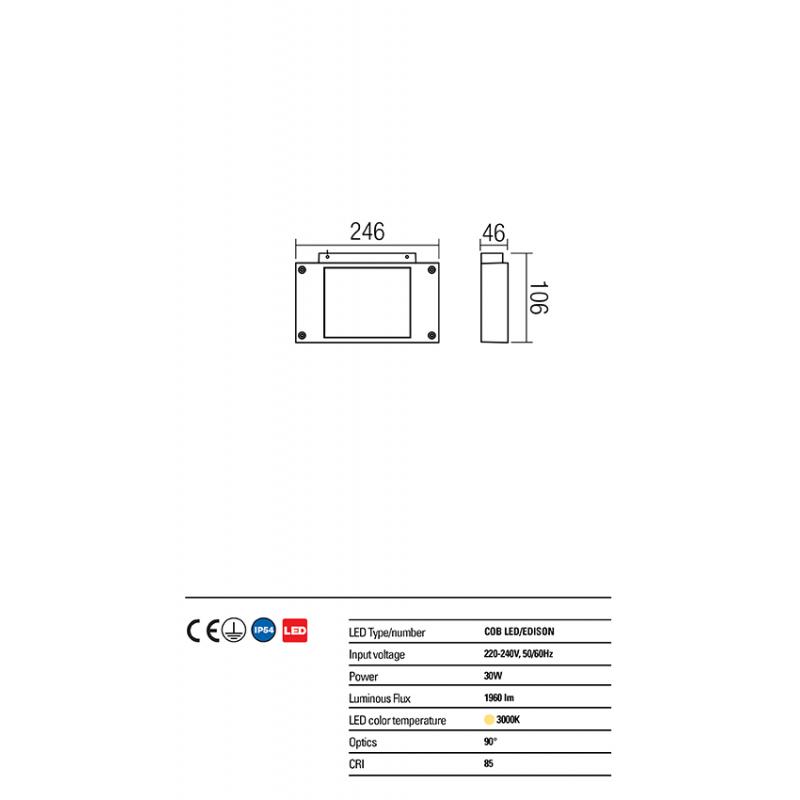 Aplică Plaza pentru exterior echipată cu LED COB 9090 Redo Outdoor