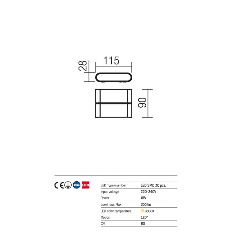 Aplică Pocket pentru exterior echipată cu LED-uri  9621 Redo Outdoor