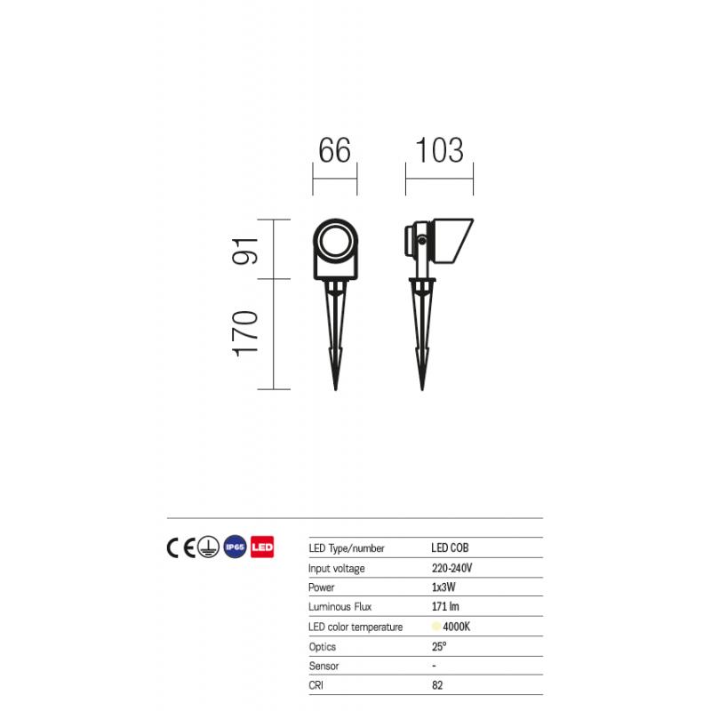 Miniproiector Shiro orientabil exterior corp din aluminiu  cu LED COB 9144 Redo Outdoor