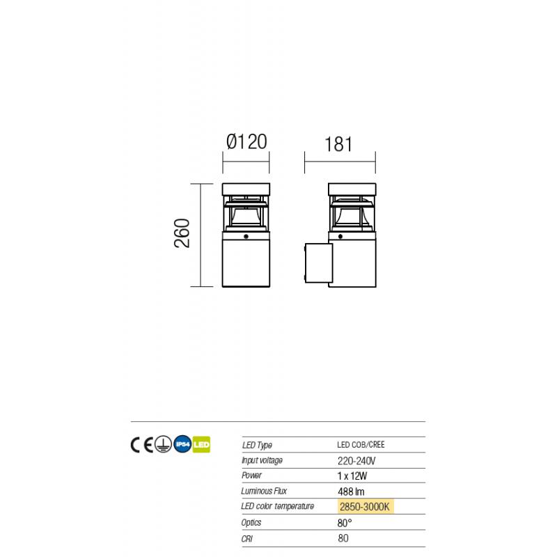 Aplică Spark pentru exterior  echipată cu LED 9940 Redo Outdoor