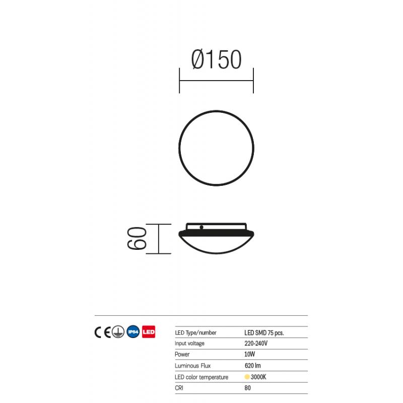 Aplică/plafonieră Spook pentru exterior echipată cu LED-uri SMD 9147 Redo Outdoor