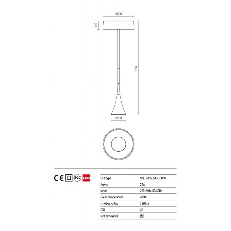 Lampadar Hyperion echipat LED structura din metal alb mat 01-1069 Redo