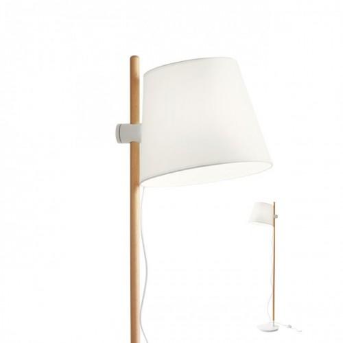 Lampadar Dia structura metal alb mat si lemn natur abajur textil alb E27 01-1490 Redo