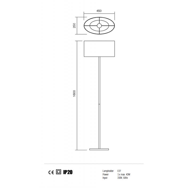 Lampadar pentru interior Enjoy structura din metal cu abajur negru 01-681 BK Redo