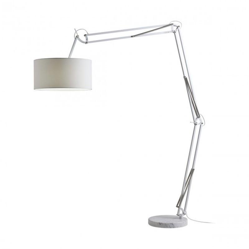 Lampadar Azar structură din metal si abajur alb E27 02-385 Redo