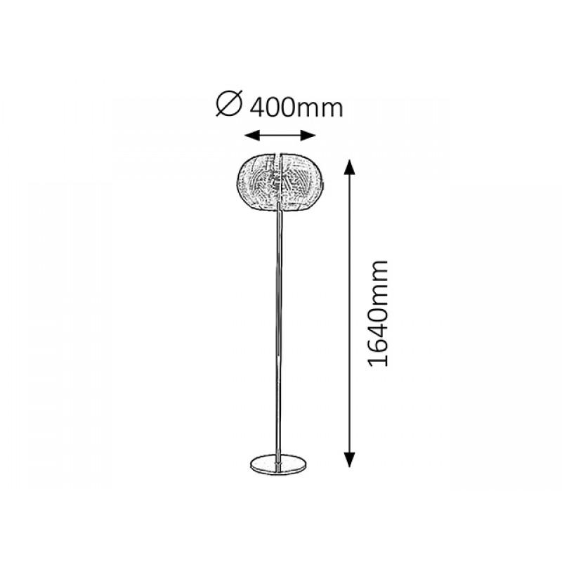 Lampadar Meda structura metal argintiu si abajur metalic argintiu 2906 Rabalux