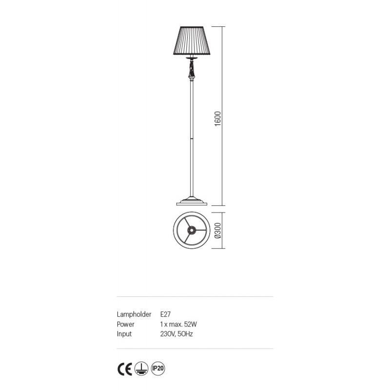 Lampadar Cloe structura metalica abajur din sifon si dantela ICL F1 14 01 Incanti