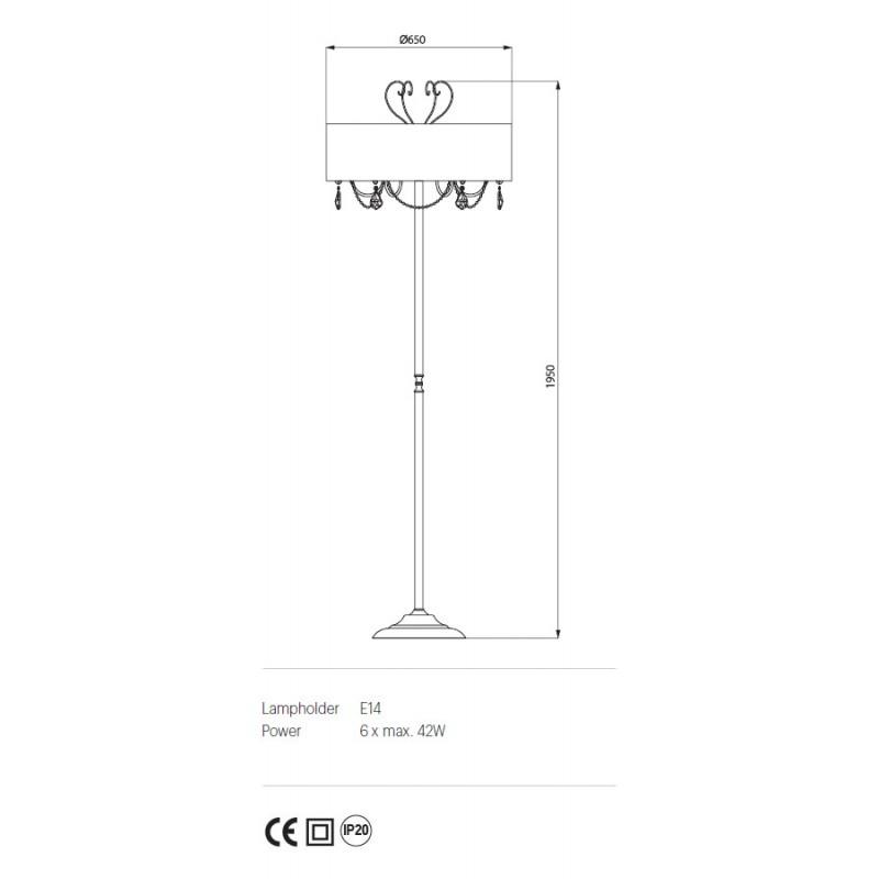 Lampadar Desiderio structura metalica abajur tip crepon IDE F6 Incanti