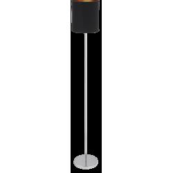Lampadar Monica structura din metal cromat si abajur din material textil negru 2524 Rabalux
