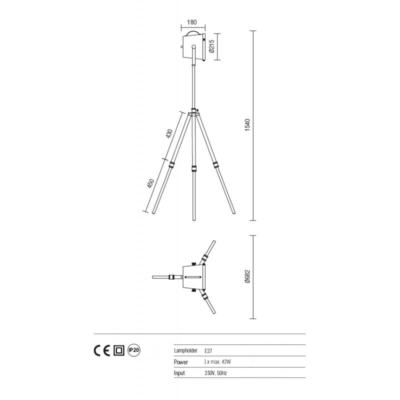 Lampadar trepied Soho structura din metal si dispersor din policarbonat 02-389 Redo