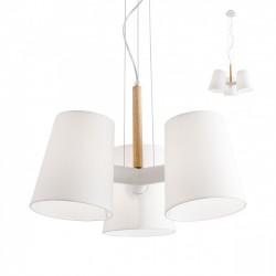 Suspensie Dia structura metal alb mat si lemn natur abajur textil alb E27 01-1488 Redo