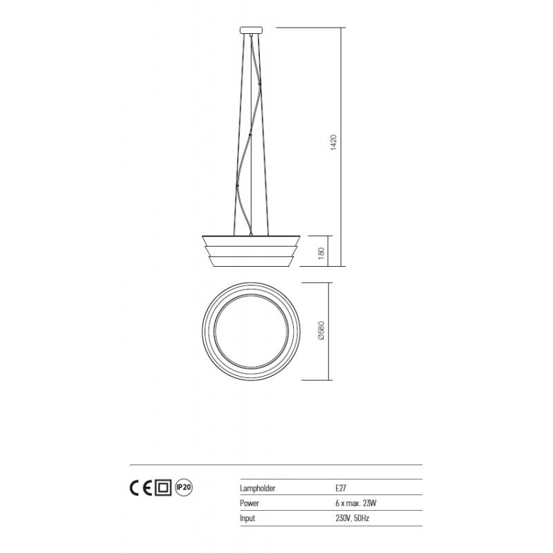 Suspensie Calypso structura metalica alb mat 01-928 Redo