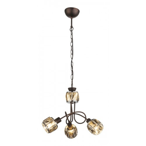 Lustra Indiana metal bronz abajur sticla dulie E14 54357-3H Globo