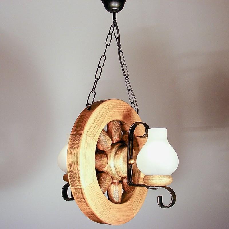 Lustra Roata D30 din lemn masiv de fag si abajur tip opait 2613 Omnia