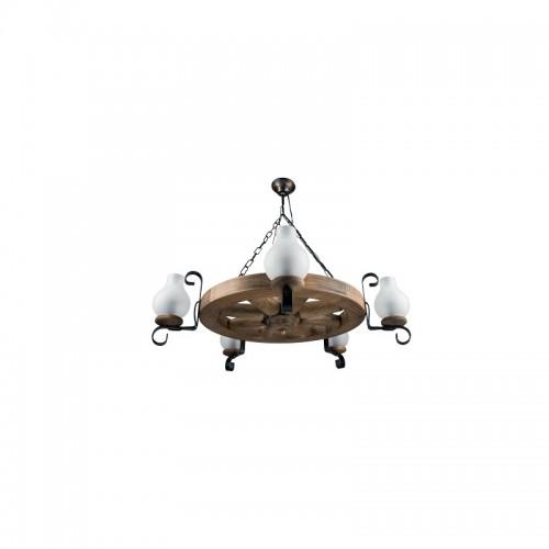 Lustra Roata D50 din lemn masiv de fag si abajur tip opait Omnia