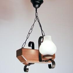 Lustra Trapez din lemn de fag si abajur tip opait 0671 Omnia