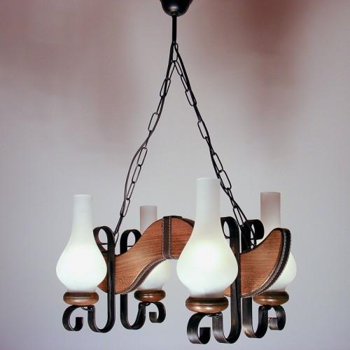 Lustra Karina din lemn de fag si abajur tip lampa 1449 Omnia