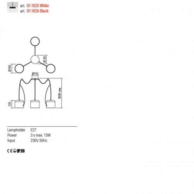 Lustra Redo Dodo - 01-1826 negru mat, 3XE27
