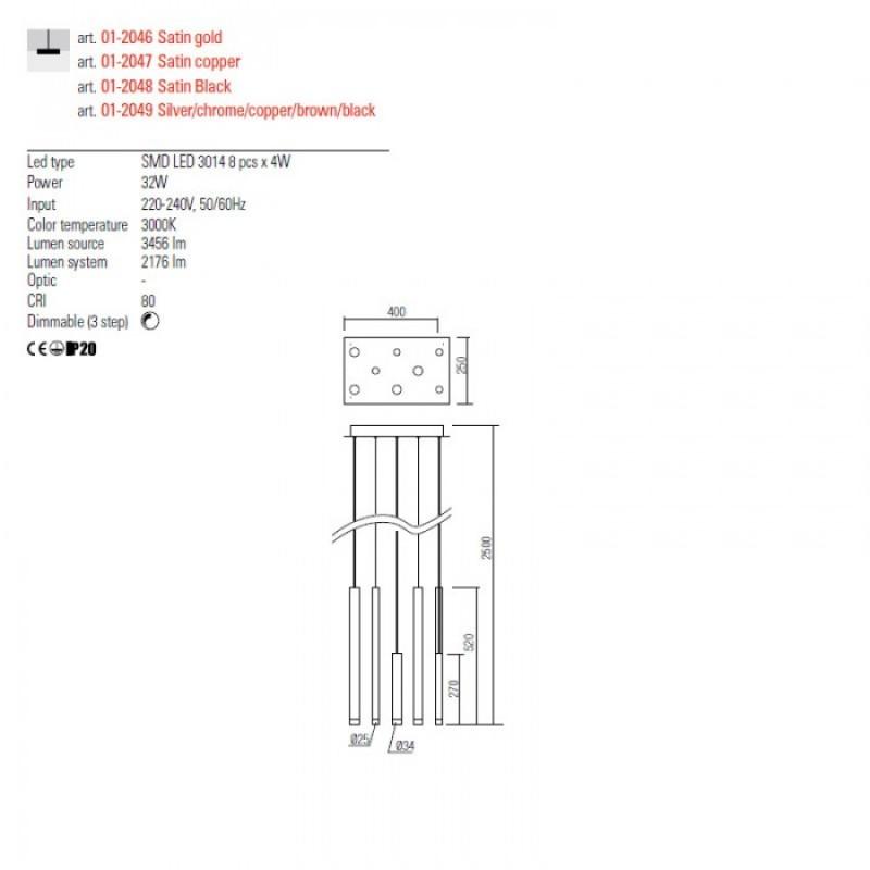 Lustra Redo Madison - crom - LED - 32W - 2176 lumeni - alb cald 3000K - 01-2049