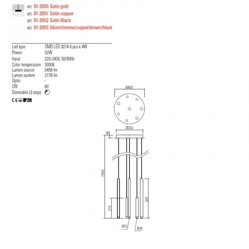 Lustra Redo Madison - cupru mat - LED - 32W - 2176 lumeni - alb cald 3000K - 40 cm - 01-2051