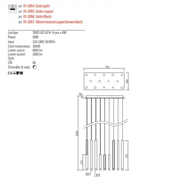 Lustra Redo Madison - crom - LED - 56W - 3808 lumeni - alb cald 3000K - 01-2057