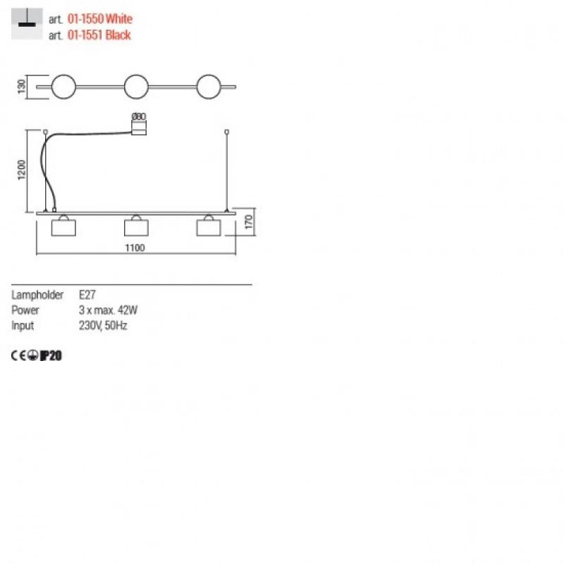 Lustra Redo Miller - 01-1550 - alb mat, 3XE27